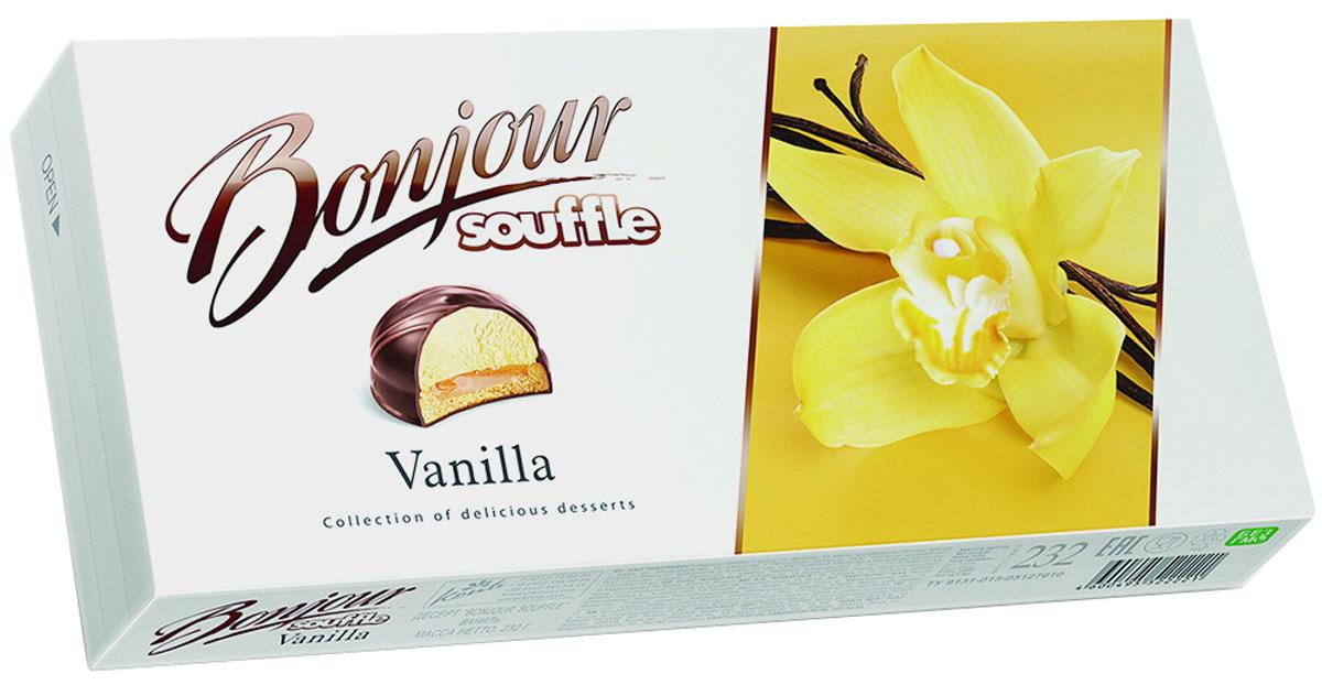 Konti Bonjour Souffle Vanilla суфле, 232 г4607050695260Сочетание сахарного печенья, мягкой карамели и нежного суфле с натуральной ванилью в шоколадной глазури, декорированное молочным шоколадом.