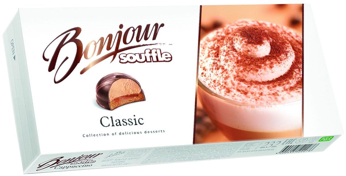 Konti Bonjour Souffle Classic суфле, 232 гУУ-00002429Сочетание сахарного печенья с натуральным кофе со сливками, мягкой карамелью и нежного суфле со вкусом капучино в шоколадной глазури, декорированное молочным шоколадом.