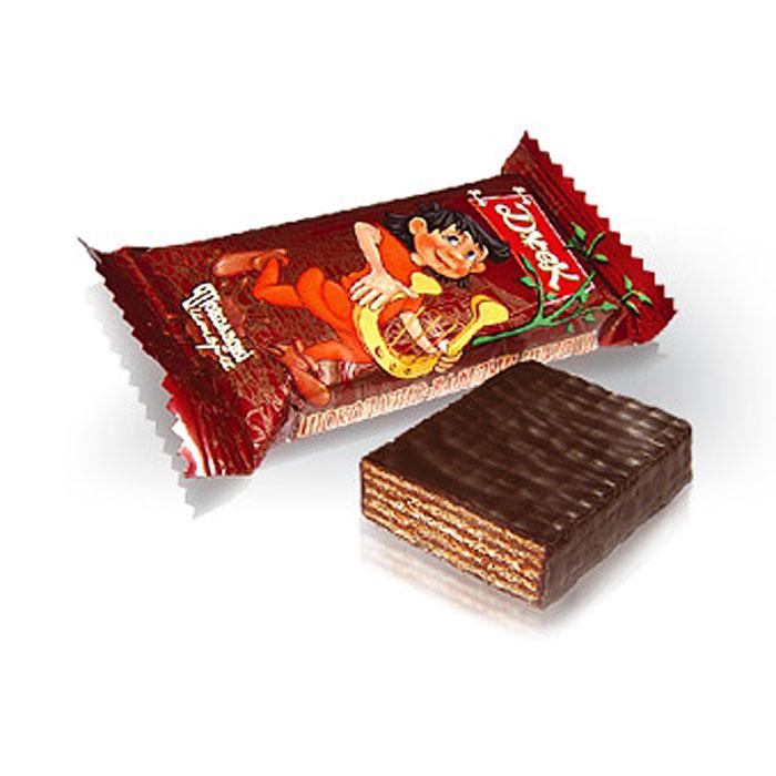 Konti Джек конфеты шоколадные вафельные, 520 г0120710Укрупненные глазированные конфеты с насыщенным вкусом какао. Основу конфет составляют нежные, тонкие и хрустящие вафельные листы, переслоенные начинкой, всего девять слоев.