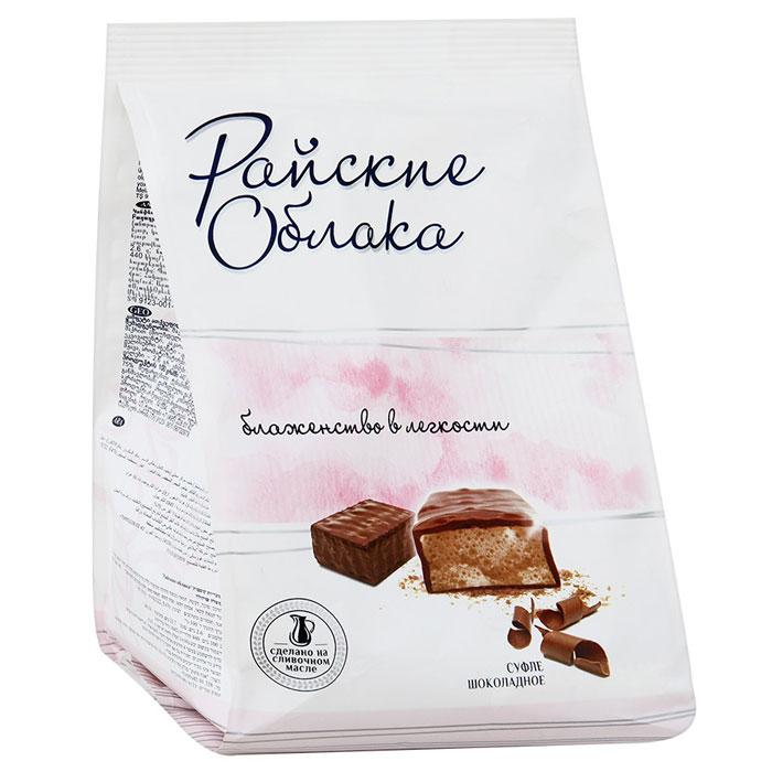 Райские Облака конфеты суфле шоколадное, 200 г4600495506191Конфеты Райские облака - это нежнейшее суфле в шоколадной глазури. Конфеты изготавливаются из натурального сливочного масла и высококачественного сгущенного молока, которые и создают вкус настоящего суфле.