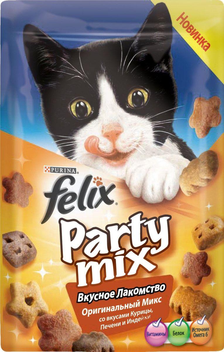 Лакомство для кошек Felix Party Mix. Оригинальный микс, со вкусами курицы, печени и индейки, 20 г0120710Вкусное Лакомство Felix Party Mix – это дополнение к ежедневному рациону вашего питомца. В каждой пачке – 3 зажигательных вкуса ароматных гранул с аппетитной текстурой! Вкусное Лакомство Felix Party Mix содержит белок, витамины и Омега 6 жирные кислоты.Предложите Вашему питомцу все миксы Вкусного Лакомства Felix Party Mix!МЕ/кг: витамин A: 31 700; витамин Д: 1 000; витамин E: 170. МГ/кг: железо: 75; йод: 1,9; медь: 12; марганец: 36; цинк: 140; селен: 0,12.Белок: 35,0 %, жир: 20,0 %, сырая зола: 8,5 %, сырая клетчатка: 0,5 %, линолевая кислота (Омега 6): 26900 мг/кг.