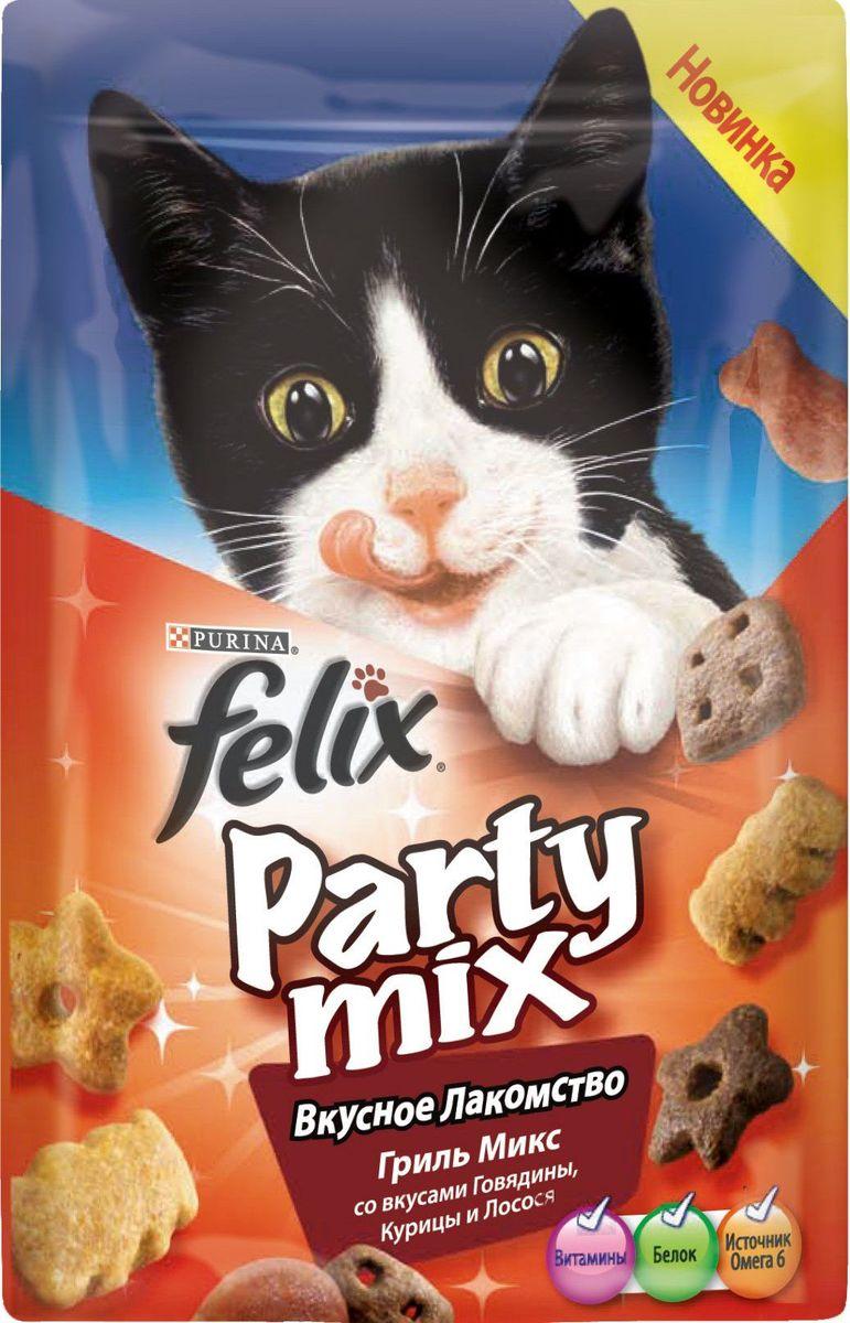 Лакомство для кошек Felix Party Mix Гриль микс, со вкусами говядины, курицы и лосося, 20 г0120710Вкусное Лакомство Felix Party Mix – это дополнение к ежедневному рациону вашего питомца. В каждой пачке – 3 зажигательных вкуса ароматных гранул с аппетитной текстурой! Вкусное Лакомство Felix Party Mix содержит белок, витамины и Омега 6 жирные кислоты.Предложите Вашему питомцу все миксы Вкусного Лакомства Felix Party Mix!МЕ/кг: витамин A: 31 700; витамин Д: 1 000; витамин E: 170. МГ/кг: железо: 75; йод: 1,9; медь: 12; марганец: 36; цинк: 140; селен: 0,12.Белок: 35,0 %, жир: 20,0 %, сырая зола: 8,5 %, сырая клетчатка: 0,5 %, линолевая кислота (Омега 6): 26900 мг/кг.
