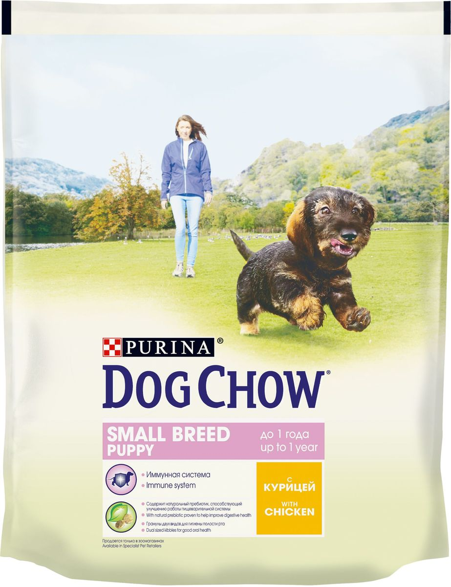 Корм сухой Dog Chow Puppy, для щенков мелких пород, с курицей, 800 г63026Корм сухой Dog Chow Puppy - полнорационное питание для щенков, с курицей. Корм для щенков содержит витамин Е, который в качестве антиоксиданта участвует в борьбе со свободными радикалами и укрепляет естественную защиту организма. Содержит натуральный пребиотик, улучшающий работу пищеварительной системы. Цикорий - источник натурального пребиотика, который, как показали исследования, способствует росту численности полезных кишечных бактерий и нормализации деятельности пищеварительной системы. Через 30 дней питания кормом Dog Chow количество бифидобактерий может возрастать в 100 раз, помогая вашей собаке сохранять хорошее пищеварение. Гранулы двух видов помогают щенку научиться пережевывать пищу, что способствует формированию правильного пищевого поведения, обеспечивает достаточное потребление калорий и гигиену ротовой полости с первых дней жизни. Содержит омега-3 жирную кислоту, необходимую для развития головного мозга и зрительного аппарата.Товар сертифицирован.