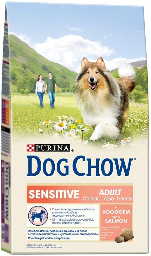 Корм сухой Dog Chow Adult для взрослых собак старше 1 года с чувствительным пищеварением, с лососем, 800 г0120710Так же, как и некоторые люди, Ваша собака может оказаться особенно чувствительной к компонентам пищи. Рецептура корма PURINA® DOG CHOW® Sensitive * была составлена специально для собак, чей желудок несколько более чувствителен, чем у остальных. Этот корм содержит омега-3 жирные кислоты для заботы о чувствительной коже и шерсти, а также натуральный пребиотик для улучшения пищеварения.МЕ/кг: витамин А: 20 300, витамин D3: 1 180, витамин Е: 97. Мг/кг: железо: 84,3, йод:2,1; медь: 9,4; марганец: 6,4; цинк: 151,5; селен: 0,21. Белок: 23%, жир: 10%, сырая зола: 8%, сырая клетчатка: 3%, Омега-3 жирные кислоты (ЭПК+ДГК): 0,2%, Омега-6 жирные кислоты (Линолевая кислота): 1,4%.
