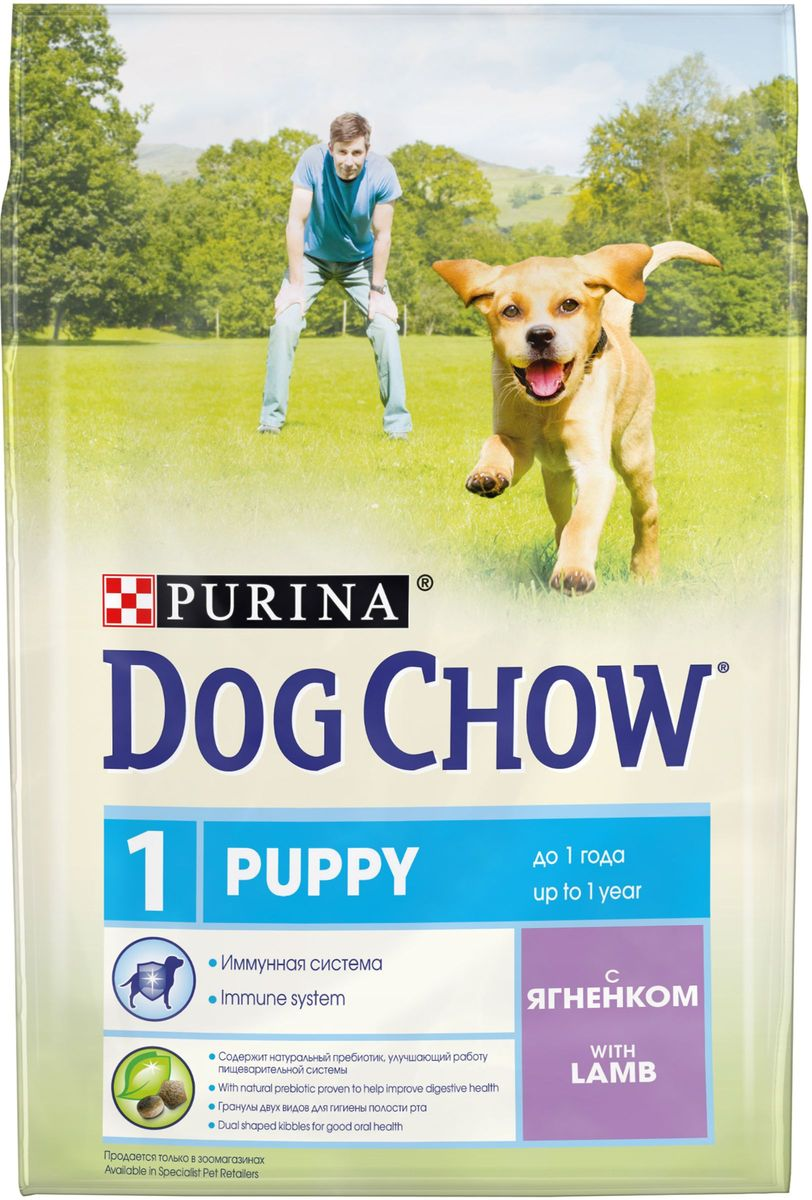 Корм сухой Dog Chow Puppy для щенков до 1 года, с ягненком, 2,5 кг0120710Каждый день жизни щенка полон приключений, требующих больших затрат энергии. Корм PURINA® DOG CHOW® Puppy для щенков – это 100% сбалансированное питание, сочетающее мясо, важнейшие минеральные элементы и витамины, которые помогают щенку расти здоровым, сильным и готовым к новым испытаниям.Этот корм подходит также для взрослых собак мелких пород и собак в период беременности и вскармливания.МЕ/кг: витамин А: 22 600, витамин D3: 1 300, витамин Е: 105. Мг/кг: железо: 93,8; йод: 2,3; медь: 10,4; марганец: 7,1; цинк: 168,6; селен: 0,23. Белок: 28%, жир: 14%, сырая зола: 7,5%, сырая клетчатка: 2,5%, Докозагексаеновая кислота: 0,05%.