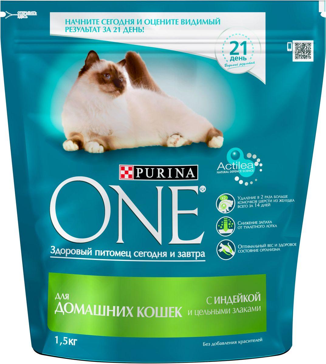 Корм сухой Purina One Indor для домашних кошек, с индейкой и цельными злаками, 1,5 кг64088Корм для домашних кошек Purina ONE с индейкой и цельными злаками представляет собой специально разработанное ведущими ветеринарами питание для питомцев, которое обеспечивает оптимальное состояние здоровья и веса животного за счет высокого содержания белка. Но помимо протеина домашним кошкам нужно еще и достаточное количество клетчатки в рационе, которая также входит в состав корма от Purina ONE.На запах из кошачьего лотка влияет содержащийся в корме цикорий, а тщательно подобранный баланс минеральных веществ обеспечивает здоровье мочевыделительной системы питомцев. Корм для домашней кошки Purina ONE с индейкой и цельными злаками положительно сказывается и на уровне активности животного, которое иногда не переступает порог дома на протяжении всей своей жизни.Состав:индейка; (17%), цельная пшеница (17%), кукурузный глютен, сухой белок домашней птицы, кукуруза, животный жир, высушенная мякоть сахарной свеклы, концентрат белка гороха, высушенный корень цикория (2%), минеральные вещества, кормовая вкусоароматическая добавка, дрожжи (1%), рыбий жир, витамины.Добавленные вещества:МЕ/кг: витамин А: 36 960; витамин D3: 1 120; витамин E: 770мг/кг: витамин С: 160; таурин: 780; железо: 253; йод: 3,2; медь: 50; марганец: 105; цинк: 428; селен: 0,29С антиокислителямиГарантируемые показатели:Белок: 34,0%, жир: 13,0%, сырая зола: 7,5%, сырая клетчатка: 6,0%.Товар сертифицирован.