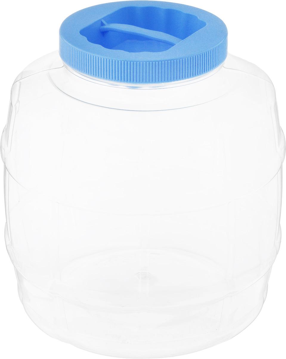 Банка Альтернатива Бочонок, цвет: голубой, прозрачный, 5 лМ672_голубойБанка Альтернатива Бочонок, выполненная из высококачественного пластика, предназначена для хранения сыпучих продуктов или жидкостей. Крышка оснащена ручкой для удобной переноски.Высота банки (с учетом крышки): 21 см.Диаметр (по верхнему краю): 10,5 см.