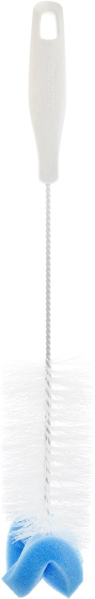 Щетка для посуды Tescoma CleanKit, с губкой, длина 37 смМ 5179Ершик Tescoma CleanKit предназначен для мытья посуды. Изделие оснащено жесткой прочной щетиной, выполненной из высококачественного термостойкого нейлона и закрепленной на металлическом крученом стержне. Эргономичная рукоятка, изготовленная из пластика, оснащена отверстием для подвешивания. Ершик оснащен губкой.Длина щетки: 37 см.Размер рабочей части (с учетом губки): 15 х 6 х 6 см.