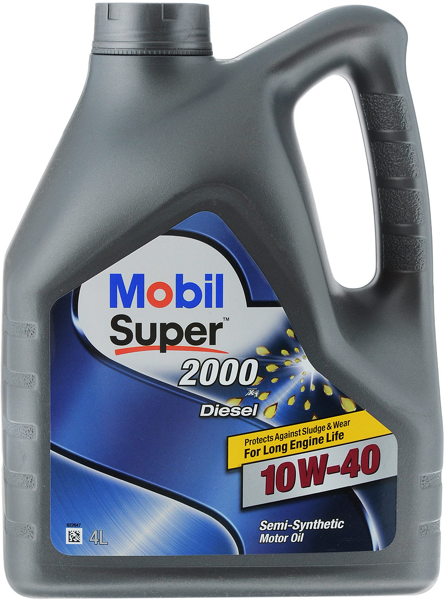 Масло моторное Mobil Super 2000 X1 Diesel GSP, класс вязкости 10W-40, 4 л162614Mobil Super 2000 X1 Diesel GSP — это полусинтетическое моторное масло, обеспечивающее более длительный срок эксплуатации двигателя и защиту от отложений шлама и износа. Масла Mobil Super 2000 X1 Diesel GSP разработаны таким образом, чтобы предоставить дополнительный уровень защиты по сравнению с минеральными маслами. ExxonMobil рекомендует применять Mobil Super 2000 X1 Diesel GSPl, когда время от времени могут сложиться затрудненные условия вождения, в:- двигателях более ранних разработок и конструкций;- бензиновых и дизельных двигателях без дизельных сажевых фильтров (DPF);- в легковых автомобилях, внедорожниках, малотоннажных грузовиках и микроавтобусах;- при вождении в загородных и городских условиях;- двигателях с повышенными рабочими характеристиками;- при обычных условиях эксплуатации и при движении с перегрузками.Товар сертифицирован.