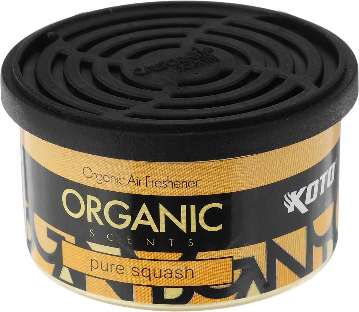 Ароматизатор автомобильный Koto Organic, чистый сквошK-1010Автомобильный ароматизатор Koto Organic эффективно устраняет неприятные запахи и придает приятный аромат сквоша.Внутри - органический наполнитель, который не растекается и не вредит окружающей среде. Ароматизатор имеет удобную крышку-регулятор, так что интенсивность аромата вы сможете настроить сами. Стойкий аромат держится около 60 дней. Ароматизатор может быть расположен как на приборной панели, так и под сиденьем автомобиля.Товар сертифицирован.