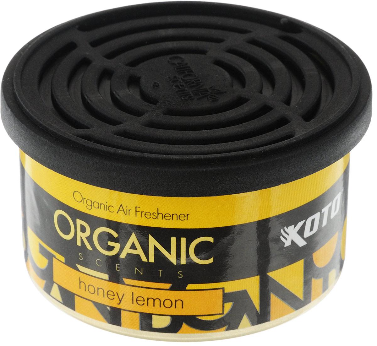 Ароматизатор автомобильный Koto Organic, медовый лимонK-1011Автомобильный ароматизатор Koto Organic эффективно устраняет неприятные запахи и придает приятный аромат меда и лимона.Внутри - органический наполнитель, который не растекается и не вредит окружающей среде. Ароматизатор имеет удобную крышку-регулятор, так что интенсивность аромата вы сможете настроить сами. Стойкий аромат держится около 60 дней. Ароматизатор может быть расположен как на приборной панели, так и под сиденьем автомобиля.Товар сертифицирован.