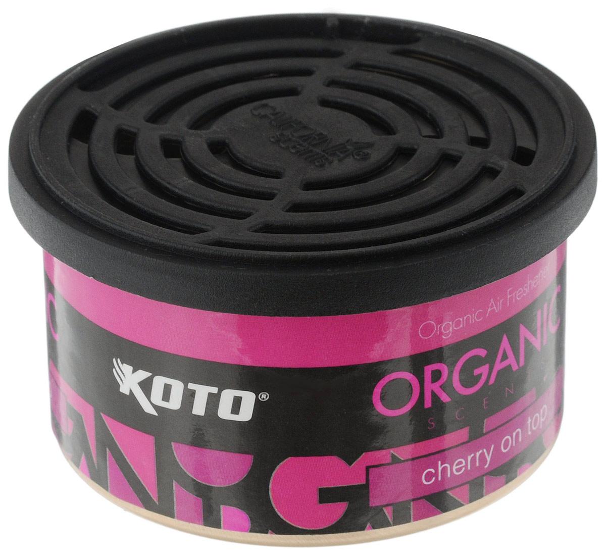 Ароматизатор автомобильный Koto Organic, вишняRC-100BPCАвтомобильный ароматизатор Koto Organic эффективно устраняет неприятные запахи и придает приятный аромат вишни.Внутри - органический наполнитель, который не растекается и не вредит окружающей среде. Ароматизатор имеет удобную крышку-регулятор, так что интенсивность аромата вы сможете настроить сами. Стойкий аромат держится около 60 дней. Ароматизатор может быть расположен как на приборной панели, так и под сиденьем автомобиля.Товар сертифицирован.