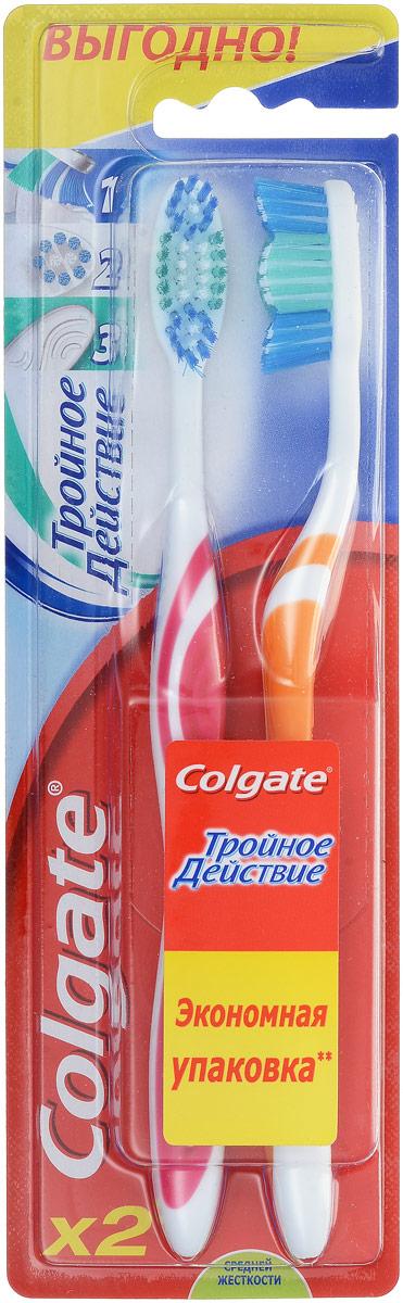 Colgate Зубная щетка Тройное действие, средняя жесткость, цвет: белый, розовый, оранжевый, 2 штMP59.4DColgate Тройное действие - зубная щетка средней жесткости. Щетинки всесторонней чистки способствуют бережному очищению зубного налета, возвращая зубам естественную белизну. Поверхность для чистки языка обеспечивает свежее дыхание.Эргономичная рифленая ручка не скользит в ладони, амортизирует давление руки на нежную поверхность десен. Товар сертифицирован.