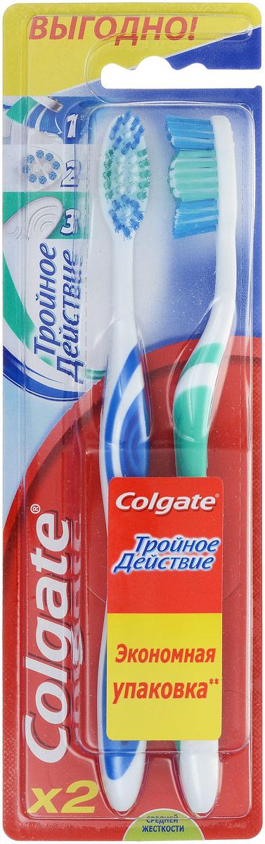 Colgate Зубная щетка Тройное действие, средняя жесткость, цвет: белый, синий, зеленый, 2 шт32700410_желтыйColgate Тройное действие - зубная щетка средней жесткости. Щетинки всесторонней чистки способствуют бережному очищению зубного налета, возвращая зубам естественную белизну. Поверхность для чистки языка обеспечивает свежее дыхание.Эргономичная рифленая ручка не скользит в ладони, амортизирует давление руки на нежную поверхность десен. Товар сертифицирован.