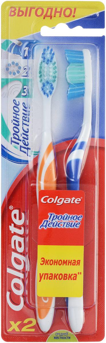 Colgate Зубная щетка Тройное действие, средняя жесткость, цвет: белый, оранжевый, синий, 2 штFCN21767_белый, оранжевый, синийColgate Тройное действие - зубная щетка средней жесткости. Щетинки всесторонней чистки способствуют бережному очищению зубного налета, возвращая зубам естественную белизну. Поверхность для чистки языка обеспечивает свежее дыхание.Эргономичная рифленая ручка не скользит в ладони, амортизирует давление руки на нежную поверхность десен. Товар сертифицирован.