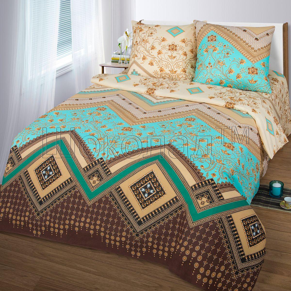 Комплект белья Шоколад Ривьера, 2-спальный с простыней евро, наволочки 70x70. Б109Б109