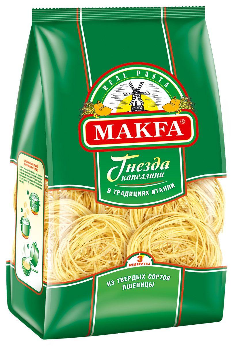 Makfa гнезда капеллини, 450 г1006-5Натуральный продукт, приготовленный по классической рецептуре макаронного теста: пшеничная мука высокого качества и чистейшая вода. Благодаря пшенице твердых сортов макароны Makfa прекрасно сохраняют форму и вкусовые свойства при варке. Разнообразие размеров, форм и форматов – это кулинарный простор для искушенных гурманов и затейливых хозяек.