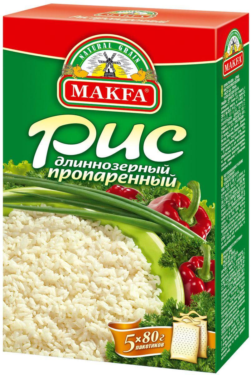 Makfa рис длиннозерный пропаренный в пакетах для варки, 5 шт по 80 г