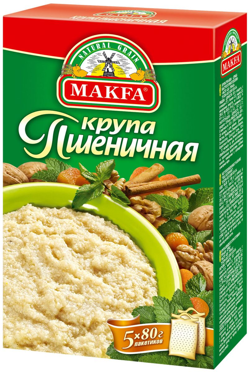 Makfa Полтавская №4 пшеничная крупа в пакетах для варки, 5 шт по 80 г