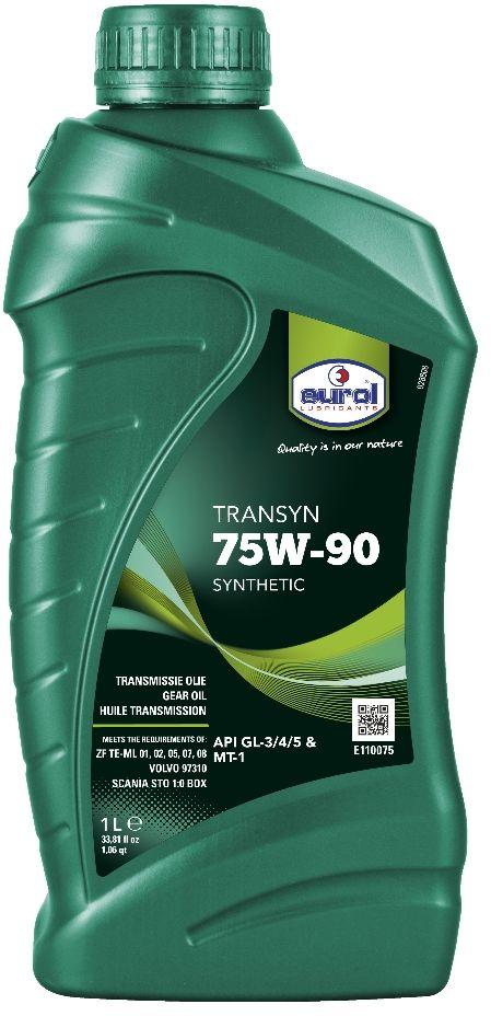 Масло трансмиссионное EUROL Transyn, класс вязкости 75W-90, GL 4/5, 1 л105859Синтетическое трансмиссионное масло для коробок и мостов Eurol Transyn 75W-90 – это синтетическое универсальное трансмиссионное масло, для использования как в ручных трансмиссиях, так и передачах, где рекомендуется применять API GL-3, GL-4 или GL-5.Трансмиссионное масло Eurol Transyn 75W-90 может использоваться во всей типах передач. Специальные добавки уменьшают потребление топлива и устраняют проблемы переключения. Благодаря уникальному составу, это масло обеспечивает превосходную защиту от износа, коррозии и вспенивания, а также от термического окисления и старения при высоких температурах.Eurol Transyn 75W-90 используется в синхронизированных коробках передач и обеспечивает мягкое переключение даже при низких температурах.Трансмиссионное масло Eurol Transyn 75W-90 показывает отличные EP (Extreme Pressure) свойства при высоких нагрузках и вибрации. Потери вязкости при нагрузке минимальны, поэтому интервалы замены масла могут быть увеличены.API: GL3/4/5; DAF ZF TE-ML 02 box, MAN 3343 S, MAN 3343 SL, MAN 341 TL, MAN 341 type Z-3, MAN 342 SL, MAN 342 type S-1, MIL-L-2105 B, MIL-L-2105 C, MIL-L-2105 D, MIL-PRF-2105E, Scania STO 1:0 box, Volvo 97310, ZF TE-ML 01, ZF TE-ML 02, ZF TE-ML 05, ZF TE-ML 07, ZF TE-ML 08