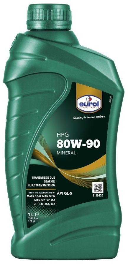 Масло трансмиссионное EUROL HPG SAE, класс вязкости 800W-90, GL5, 1 л166049Eurol HPG Gear Oil - минеральное трансмиссионное масло, изготовленное по последней технологии фосфор/сера. Эта технология присадок обеспечивает отличную защиту при контакте металл-металл в передачах в тяжелых условиях эксплуатации, а также при ударных нагрузках. Eurol HPG Gear Oil содержит специальные присадки, обладающие свойством оставлять защитную пленку для защиты от коррозии. Кроме того, масла с вязкостью SAE 80W и 80W-140 обладают превосходной текучестью при низких температурах для оптимальной работы в любое время года.Eurol HPG Gear Oil показывает отличную термостойкость и стойкость и окислению. Прокладки не повреждаются.Eurol HPG Gear Oil рекомендуется для использования в гипоидных передачах, мостах, кпп и дифференциалах, где требуются спецификации API GL-5 , MIL-L 2105-D и Mack GO-G. Масло с вязкость SAE 85W-90 может также применяться для требования спецификации MB 235.0.Спецификации и одобрения 80W-90 / 85W-140/80W-140•API GL-5•MIL-L-2105-D•Mack GO-G•ZF TE-ML 05A,12A•MAN 342 N / MAN 342 type M-1•MT-1•85W-90:•API GL-5•MIL-L-2105D•MB 235.0•ZF TE-ML 05A,07A,08,16F,17B•MAN 342N/ MAN 342 type M-1•Volvo 97310•RVI 03-80-4003•MT-1
