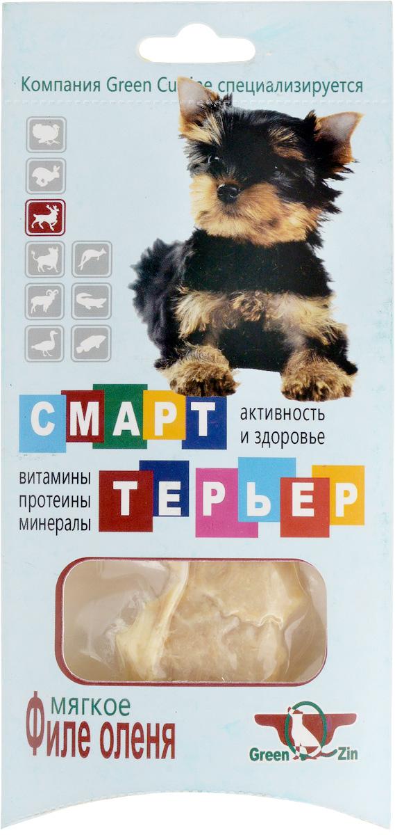 Лакомство для собак GreenQZin Смарттерьер, мягкое филе оленя, 25 г0120710Лакомство GreenQZin Смарттерьер - это натуральный мясной деликатес, предназначенный в употребление специально для собак, особенно для привередливых и ценящих свой выбор особей. Лакомство GreenQZin Смарттерьер, приготовленное по особой технологии из цельного куска мяса оленя, не содержит консервантов, красителей и ГМО. В отличие от сухих кормов не вызывает запоры и мочекаменный закупор, легко переваривается в желудке собак без негативных последствий. Лакомство GreenQZin Смарттерьер - это идеальное решение для любой хозяйки, которая заботится о здоровье своего питомца. Товар сертифицирован.