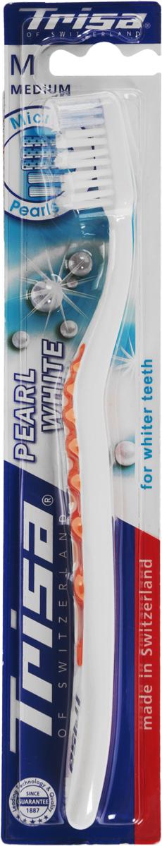 Trisa зубная щётка Перл Вайт средняя, цвет: оранжевыйSatin Hair 7 BR730MNЗубная щетка Trisa Pearl White - щетина средней степени жесткости - произведена в Швейцарии в соответствии с новейшими научными разработками. Единственная в своем роде волнистая форма зубной щетки TRISA Pearl White обеспечивает прекрасное сцепление. Эргономичная ручка с мягкой волнистой структурой обеспечивает абсолютный комфорт и оптимальный контроль – точку опоры для большого пальца можно выбрать индивидуально. Отбеливающие щетинки с голубыми очищающими микро - жемчужинами способствуют удалению дисколорита (изменения цвета зуба), для безупречной, жемчужно-белой улыбки. Головка щетки с волнообразным «активным контуром» подстраивается под естественный профиль зубов. Перламутровая ручка придает TRISA Pearl изысканный вид. Разноуровневая щетина - для эффективного удаления налета даже в труднодоступных межзубных промежутках. Активный выступ - для чистки труднодоступных коренных зубов. Гибкий корпус регулирует давление при чистке. Элегантный функциональный дизайн.