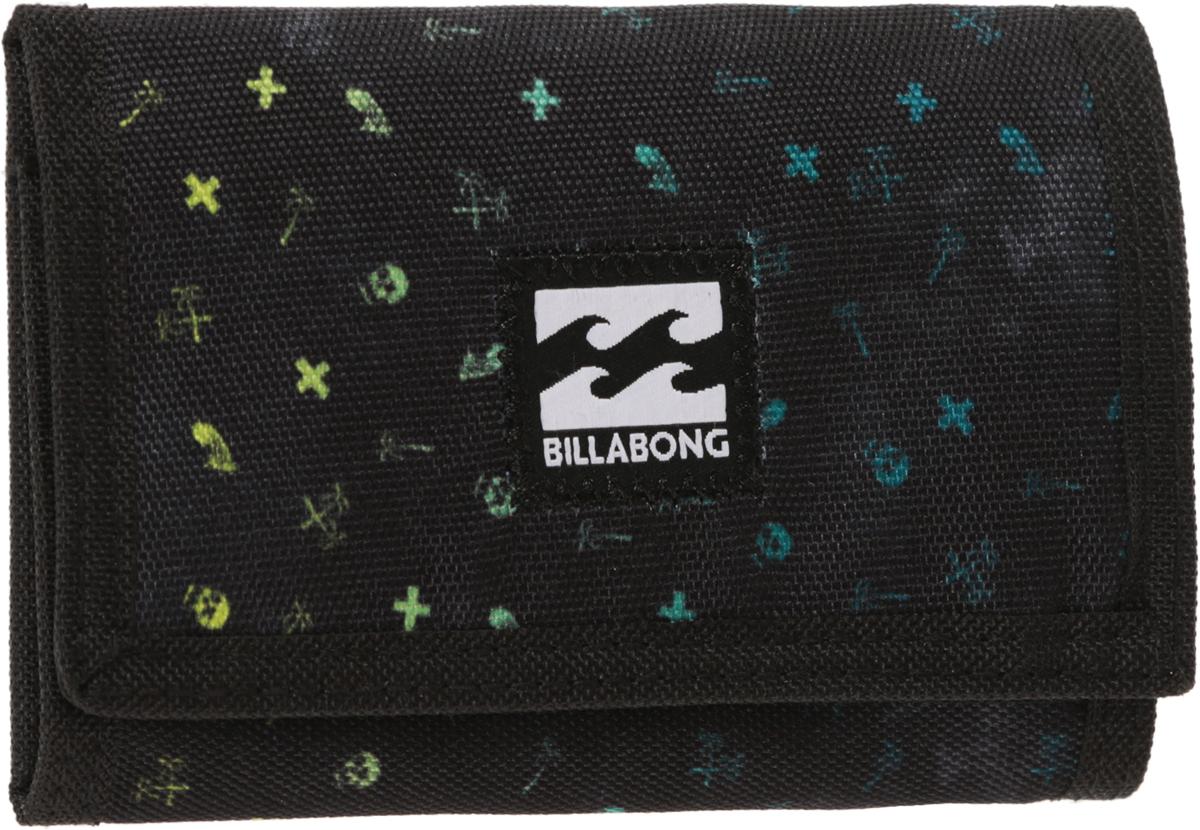Кошелек Billabong Atom Wallet, цвет: черный, голубой, желтый. 36078693694521-022_516Классический тряпичный кошелек с новыми расцветками от Billabong.