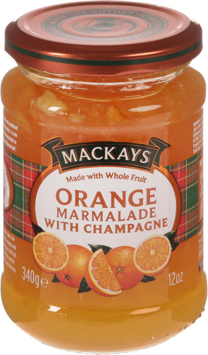 Mackays Десерт фруктовый из апельсина с шампанским, 340 г4607067552389Для цитрусовых джемов используют только высококачественные цитрусовые фрукты от лучших производителей из Севильи и других регионов Испании. Джем из спелых апельсинов, приготовленный с добавлением тростникового сахара и шампанского. Отличается насыщенным цитрусовым вкусом с пряными нотками. Рекомендуется употреблять как самостоятельное лакомство, а также намазывать на тосты или добавлять в выпечку.