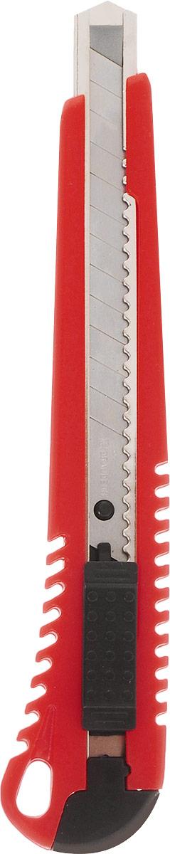 Brauberg Нож канцелярский цвет красный 9 мм230917_черныйУниверсальный канцелярский нож Brauberg с автоматической фиксацией положения лезвия AUTO-LOCK предназначен для работы с бумагой, плотным картоном, пленкой и другими материалами.Корпус ножа выполнен из пластика с металлическими направляющими, исключающими перекос и выпадение лезвия в процессе интенсивного использования. Многосекционное лезвие изготовлено из высококачественной стали.