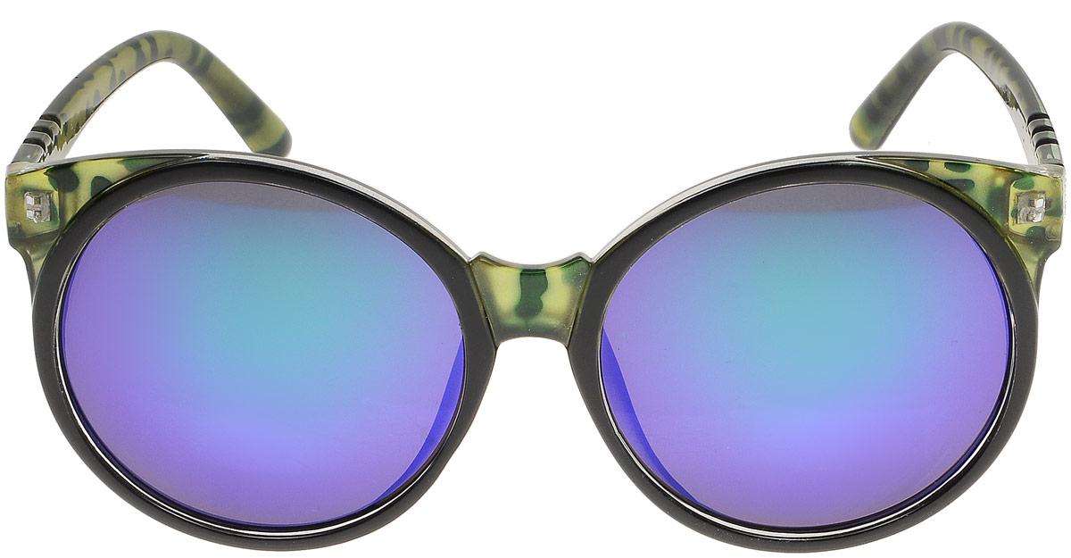 Очки солнцезащитные женские Модные истории, цвет: зеленый, фиолетовый. 7/0027BM8434-58AEСтильные солнцезащитные очки Модные истории сделают приятной прогулку в жаркий солнечный полдень. Высокоэффективный встроенный УФ фильтр обеспечивает совершенную защиту от вредных ультрафиолетовых лучей.