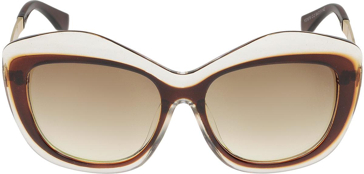 Очки солнцезащитные женские Модные истории, цвет: коричневый. 7/0026BM8434-58AEСтильные солнцезащитные очки Модные истории оригинальной модели сделают приятной прогулку в жаркий солнечный полдень. Высокоэффективный встроенный УФ фильтр обеспечивает совершенную защиту от вредных ультрафиолетовых лучей.