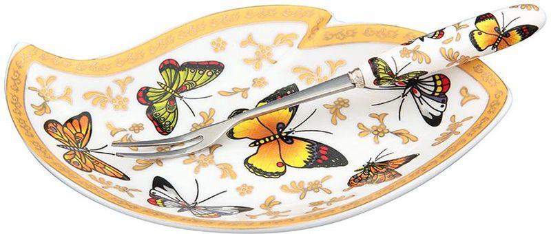 Тарелка под лимон Elan Gallery Бабочки, с вилкой, 17 х 11 х 2 см115610Изящное блюдо Elan Gallery Бабочки предназначено для нарезанных долек лимона с вилочкой для удобства. Изделие выполнено из керамики и оформлено оригинальным узором. Такая тарелка подойдет для сервировки любой нарезки. Изделие имеет подарочную упаковку, поэтому станет желанным подарком для ваших близких.Размер тарелки: 17 х 11 х 2 см.