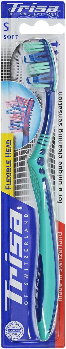 Trisa зубная щетка Флексибл Хеад, мягкая щетина, цвет: синий, берюзовый517402_синий, берюзовый
