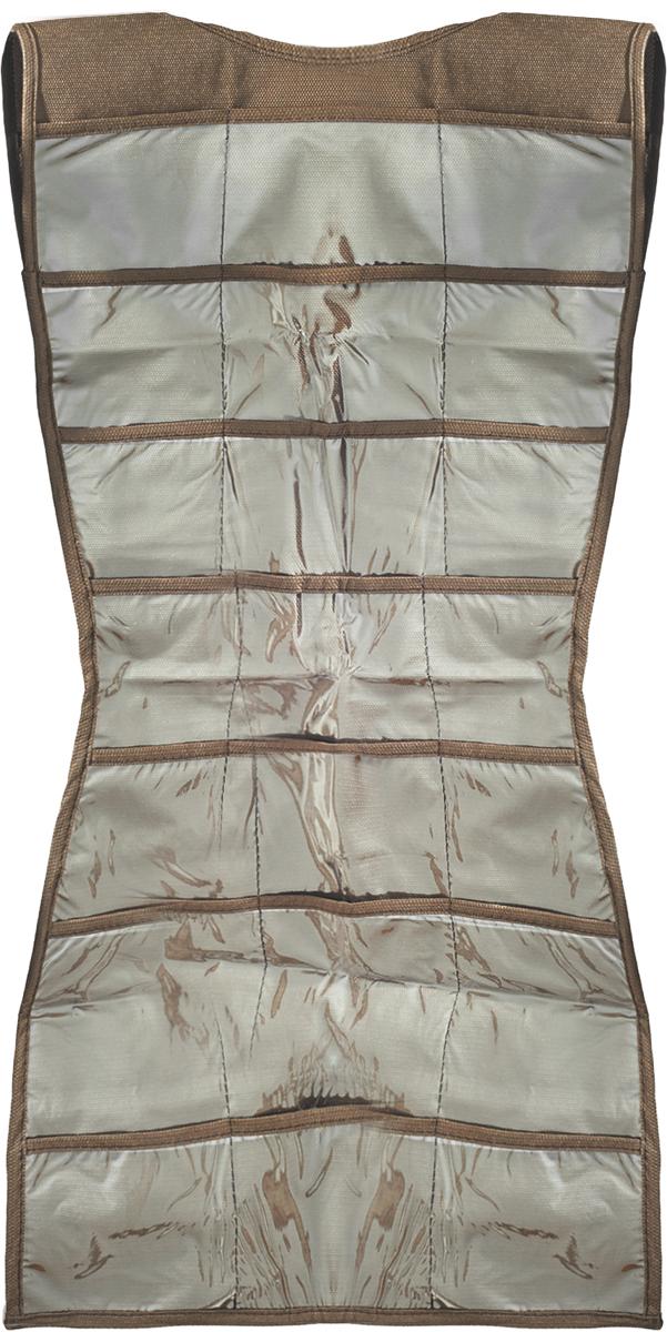Органайзер для аксессуаров Все на местах Minimalistic. Платье, подвесной, цвет: коричневый, 21 карман, 40 x 70 см04711-D12Подвесной органайзер Все на местах Minimalistic. Платье, изготовленный из ПВХ и спанбонда, предназначен для хранения необходимых вещей, множества мелочей в гардеробной, ванной комнате. Изделие выполнено в форме платья с 21 пришитым кармашком. Также с обратной стороны имеются петельки, на которые удобно вешать ремни и другие аксессуары.Этот нужный предмет может стать одновременно и декоративным элементом комнаты. Яркий дизайн, как ничто иное, способен оживить интерьер вашего дома. Размер органайзера: 40 х 70 см.