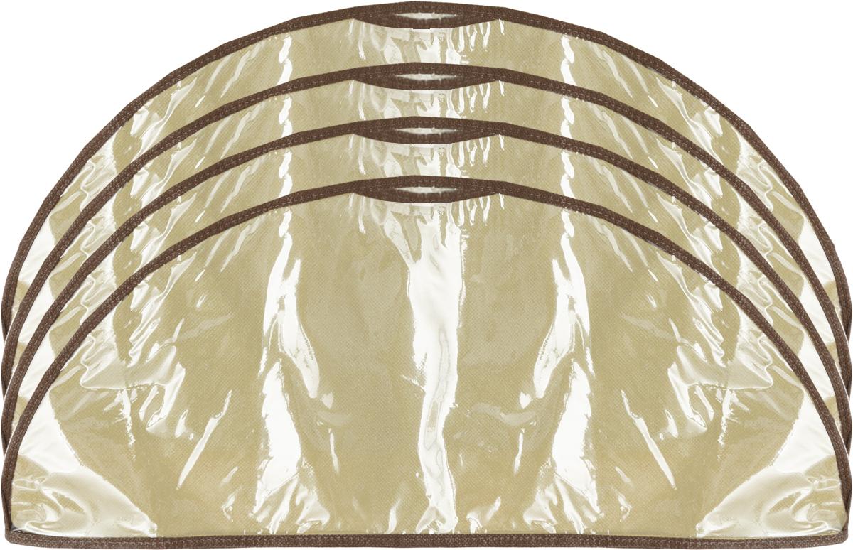 Чехол-накидка на вешалку Все на местах Париж, цвет: коричневый, бежевый, 4 шт, 60 x 18 смRG-D31SЧехол-накидка на вешалку Все на местах Париж выполнен из спанбонда и ПВХ. В комплекте 4 чехла. Размеры: 60 x 18 см.