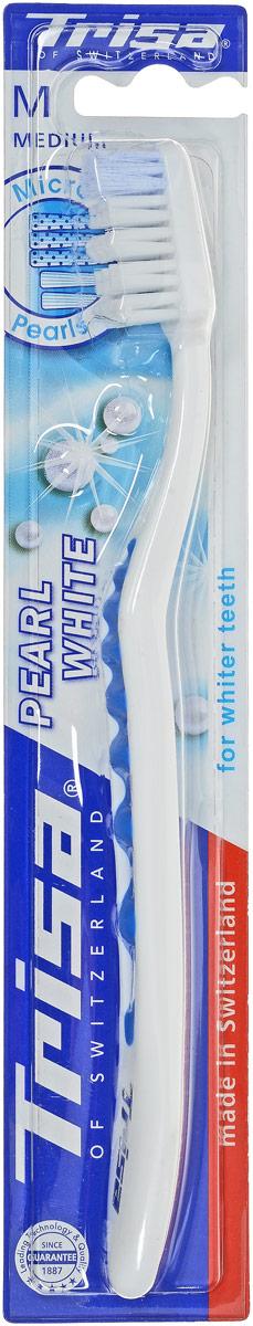 Trisa Зубная щетка Pearl White, средней жесткости, цвет: голубой5010777139655Единственная в своем роде волнистая форма зубной щетки Trisa Pearl White обеспечивает прекрасное сцепление.Эргономичная ручка с мягкой волнистой структурой обеспечивает абсолютный комфорт и оптимальный контроль - точку опоры для большого пальца можно выбрать индивидуально. Отбеливающие щетинки с голубыми очищающими микро-жемчужинами способствуют удалению дисколорита (изменения цвета зуба), для безупречной жемчужно-белой улыбки. Головка щетки с волнообразным активным контуром подстраивается под естественный профиль зубов.Товар сертифицирован.