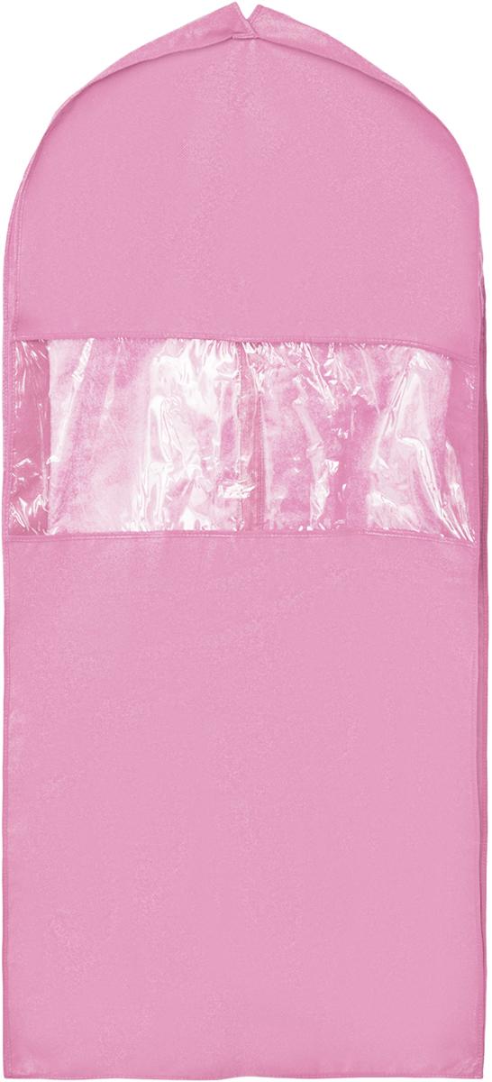 Чехол для костюма Все на местах Minimalistic, цвет: розовый, 130 х 60 х 10 см1004900000360Чехол для костюма Все на местах Minimalistic изготовлен из сочетания спанбонда и ПВХ. Прозрачное окошко значительно облегчает поиск необходимой вещи в гардеробе, а элегантный классический дизайн подойдет к любому гардеробу. Этот чехол для костюма позволит аккуратно переносить любимые вещи, не помяв их и не испачкав во время путешествия.В верхней части чехла есть отверстие для вешалки. Застегивается чехол на прочную молнию.Материал: спанбонд, ПВХ.Размеры: 130 х 60 х 10 см.