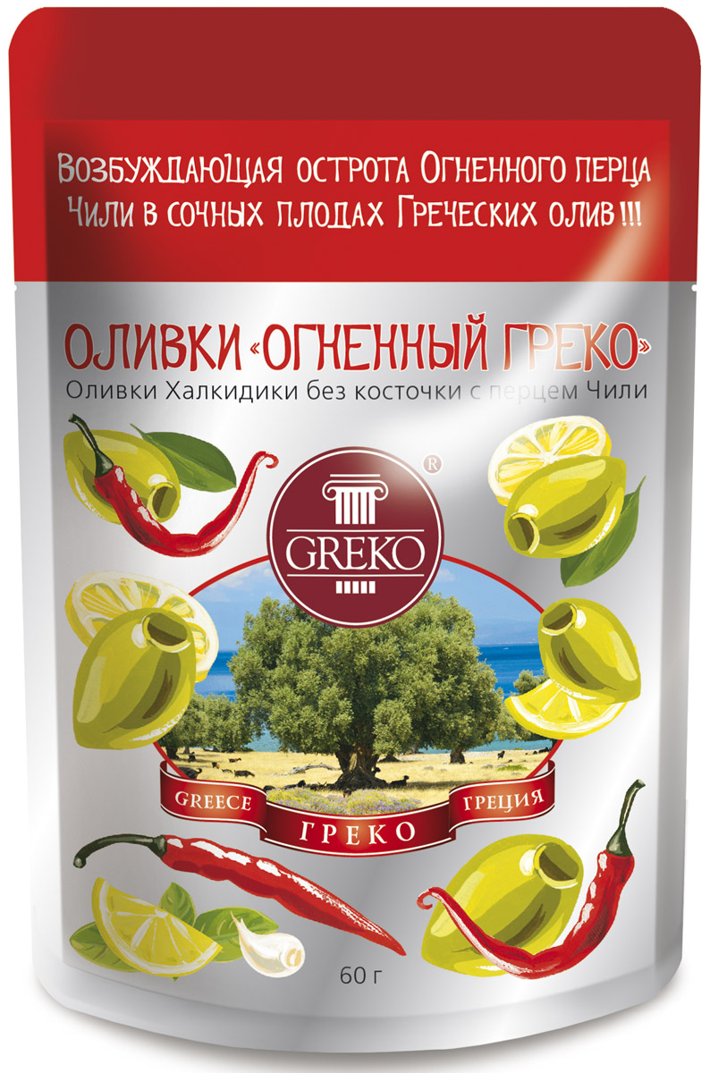 Greko оливки Огненный Греко сорта Халкидики без косточки с перцем чили, 60 г0120710Низкокалорийный оливковый снэк в удобной упаковке без жидкости.Халкидики - это зеленые продолговатые с заостренным кончиком оливки. Одни из самых популярных сортов оливок не только в самой Греции, но и во всем Средиземноморье. Выращиваются в северо-восточной Греции на полуострове Халкидики - жемчужине Эгейского моря, в районе, прилегающем к православным монастырям Святой Горы Афон. Гурманы высоко ценят их нежную сочную мякоть и свежий истинно оливковый аромат.Универсальный продукт: может использоваться как самостоятельное блюдо, а также как украшение и ингредиент в закусках, бутербродах, пицце и салатах.