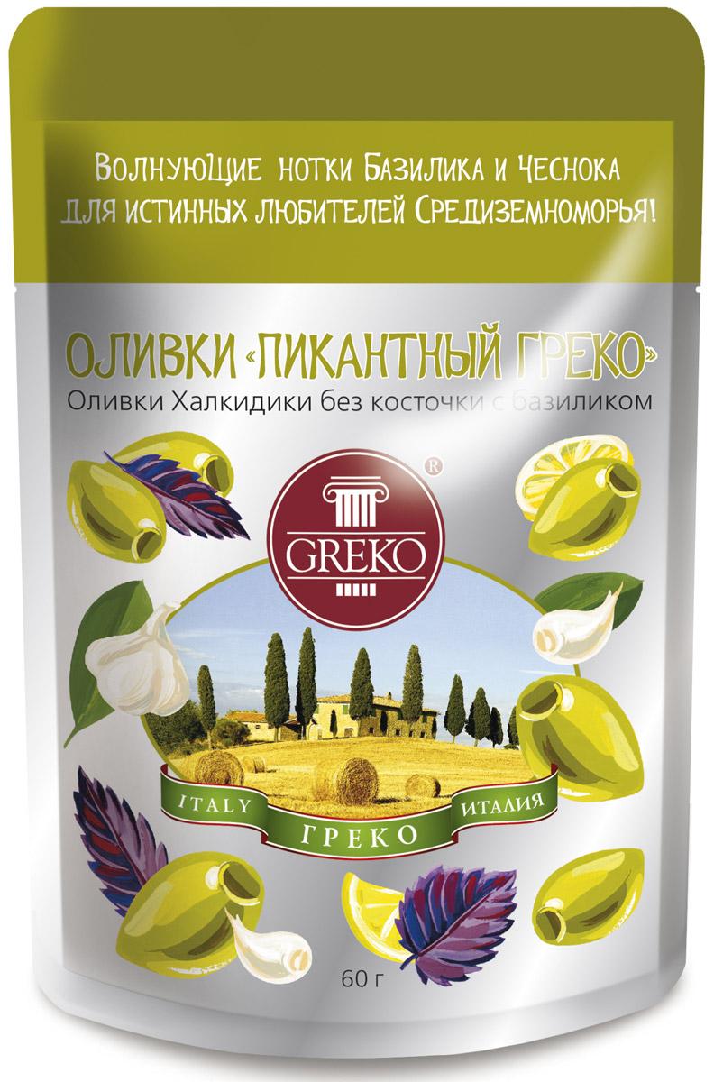 Greko оливки Пикантный Греко сорта Халкидики без косточки с базиликом, 60 г0120710Низкокалорийный оливковый снэк в удобной упаковке Дой Пак без жидкости.Халкидики - это зеленые продолговатые с заостренным кончиком оливки. Одни из самых популярных сортов оливок не только в самой Греции, но и всем Средиземноморье. Выращиваются в северо-восточной Греции на полуострове Халкидики - жемчужине Эгейского моря, в районе, прилегающем к православным монастырям Святой Горы Афон. Гурманы высоко ценят их нежную сочную мякоть и свежий истинно оливковый аромат.Уникальная рецептура компании Греко, сохраняющая истинный вкус оливок.