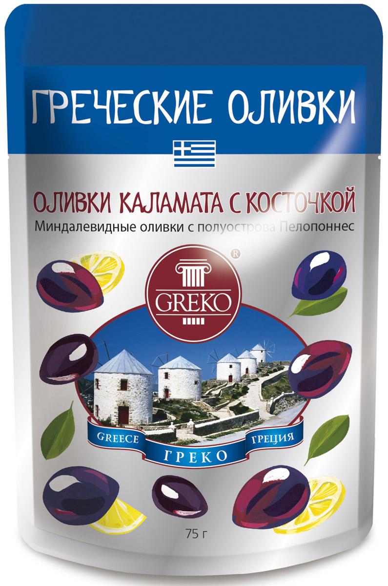 Greko оливки сорта Каламата с косточкой, 75 г254256Низкокалорийный оливковый снэк в удобной упаковке Дой Пак без жидкости.Каламата - королева всех Средиземноморских оливок, названа в честь города на полуострове Пелопонес. Самый знаменитый в мире сорт миндалевидных греческих сочных оливок. Собирают вручную, чтобы не повредить плоды, с ноября по Рождество, тщательно сортируются. Полностью созревшие эти черно-фиолетоые оливки имеют тонкую кожицу и упругую сочную мякоть. Традиционно маринуются с добавлением красного виноградного уксуса, придающего им тонкий винный аромат и неподражаемый вкус.Уникальная рецептура компании Греко, сохраняющая истинный вкус оливок. Универсальный продукт: может использоваться как самостоятельное блюдо, а также украшением и ингредиентом в закусках, бутербродах и канапэ, пицце и салатах.
