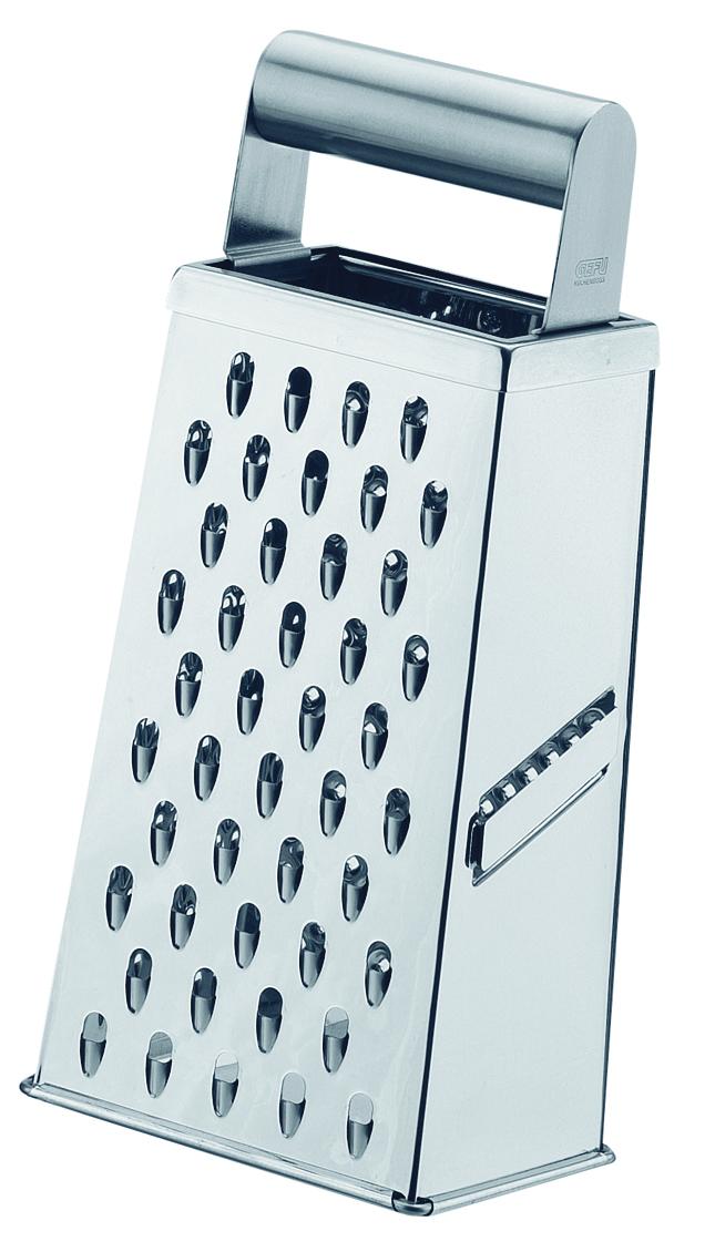 Терка Gefu, четырехсторонняя, 10,9 х 8,2 х 23,7 см94672Терка оснащена двухсторонним лезвием для удобства нарезки в обоих направлениях. Удобная металлическая ручка. Может использоваться для мелкой, крупной тёрки и для тёрки картофеля.Можно мыть в посудомоечной машине.Габариты: 10.9x8.2x23.7 смСрок годности не ограничен.