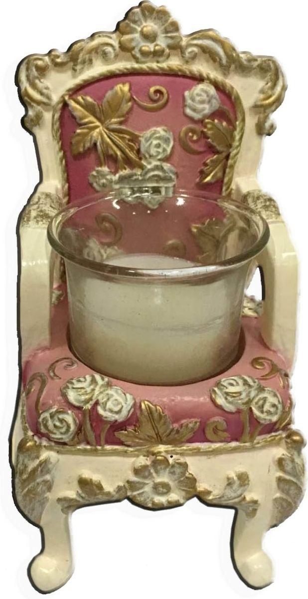 Подсвечник декоративный Magic Home Трон, цвет: розовый, 6,5 х 6 х 10 см74-0140Декоративный подсвечник Magic Home Трон для одной свечи выполнен из высококачественной полирезины в виде трона, оформленного цветами и узорами. Подсвечник внесет в интерьер любого дома элемент необычности и поможет создать атмосферу загадочности и изысканности.