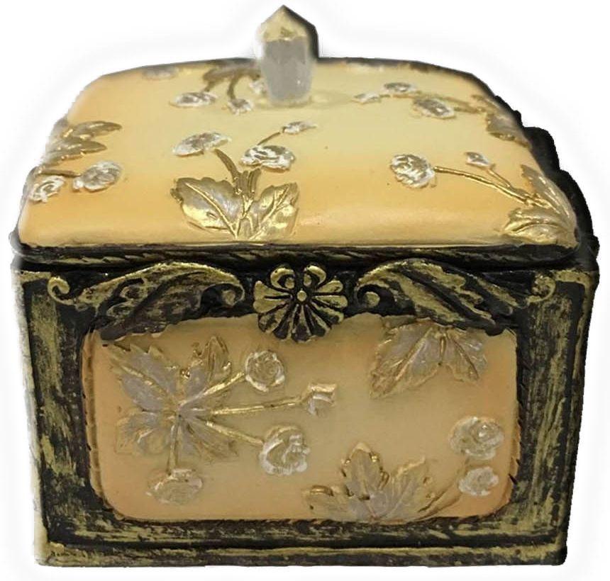 Шкатулка декоративная Magic Home, цвет: желтый , 7,5 х 7 х 6 см41619Декоративная шкатулка Magic Home, изготовленная из высококачественной полирезины в винтажном стиле, не оставит равнодушным ни одного любителя красивых вещей. Шкатулка может использоваться для хранения бижутерии, в качестве украшения интерьера, а также послужит хорошим подарком для человека, ценящего практичные и оригинальные вещи.