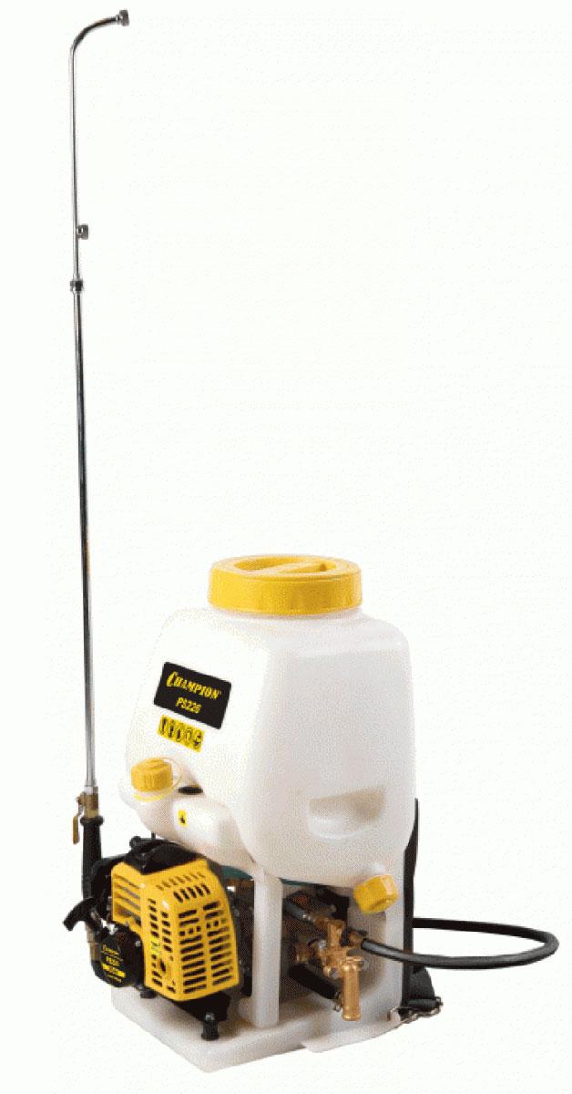 Опрыскиватель бензиновый Champion PS22600823-20.000.00Бензиновый опрыскиватель Champion PS226– это инструмент, который идеально подходит для тщательного ухода за растениями. С его помощью всегда можно обрызгать деревья, кусты, овощи и фрукты, используя различные удобрения или растворы для дезинфекции. На агрегате установлен двухтактный двигатель, который имеет достаточную мощность для того, чтобы оператору не приходилось прилагать никаких усилий во время распыления жидкости. Опрыскивание происходит под давление 2,5 бар. За один час такой агрегат можно разбрызгать 306 литров.Особенности: Воздушное охлаждение двигателяРегулировка струиНаплечный ремень упрощает переноскуЭлектронное зажиганиеВоздушный фильтр