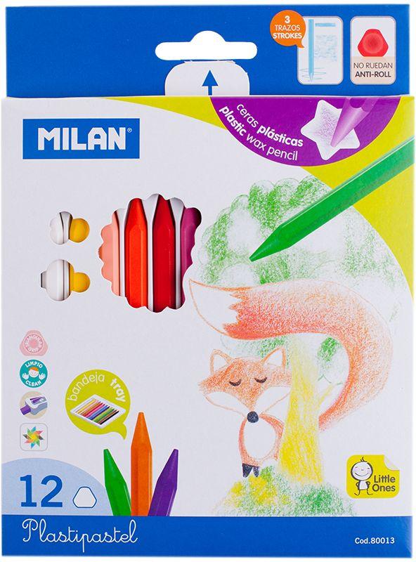Milan Мелки восковые 12 цветовFS-36052Набор Milan содержит 18 мелков ярких насыщенных цветов. Каждый мелок имеет трехгранную форму. Мелки обеспечивают удивительно мягкое письмо, позволяющее легко закрашивать большие площади. Мелки предназначены для рисования по бумаге, картону, керамике, дереву. Не токсичны и абсолютно безопасны для детей. Восковые мелки просты в применении, почему очень нравятся детям. Работа с такими мелками не требует никакой специальной подготовки - они сразу готовы к использованию. Цвета на бумаге получаются нежные и гармоничные.Восковые мелки Milan откроют юным художникам новые горизонты для творчества, а также помогут отлично развить мелкую моторику рук, цветовое восприятие, фантазию и воображение, способствуют самовыражению.