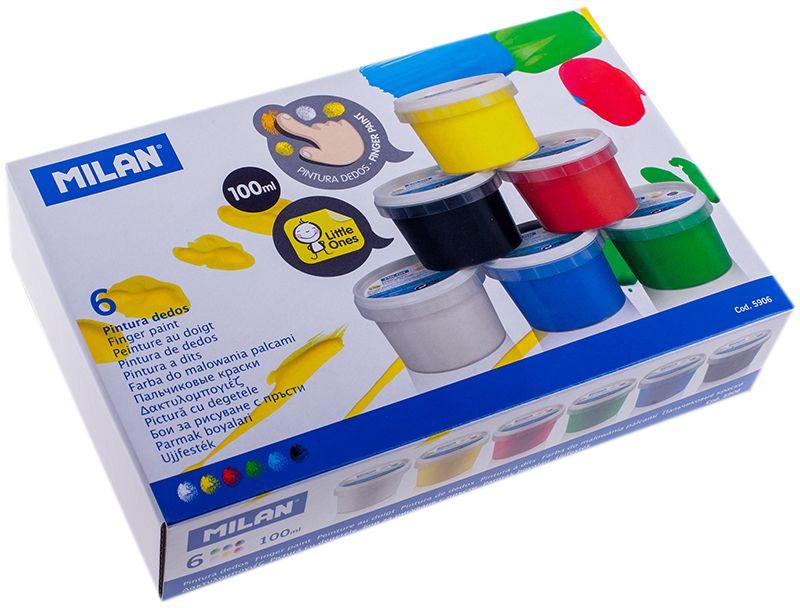 Milan Краска пальчиковая 6 цветовFS-00103Пальчиковыми красками можно рисовать на бумаге и картоне, пальцами и ладошками, а также специальной кисточкой и спонжиками.В процессе рисования пальчиковыми красками ребенок научится различать и смешивать цвета, разовьет мелкую моторику и чувство осязания. Ребенок может рисовать мазки разной яркости, в зависимости от силы нажатия пальцев.Рисование пальчиковыми красками способствует раннему развитию творческих способностей.В упаковке краска шести цветов.