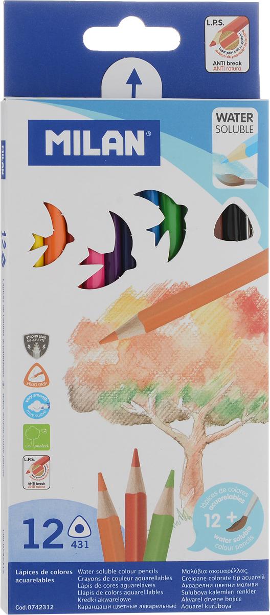 Milan Набор цветных акварельных карандашей 12 шт72523WDНабор цветных акварельных карандашей Milan изготовлен из качественной древесины. Карандаши имеют трехгранный корпус. Легко и экономично затачиваются, не крошатся.Яркие, насыщенные цвета, максимально мягкое рисование и идеальное размытие водой.