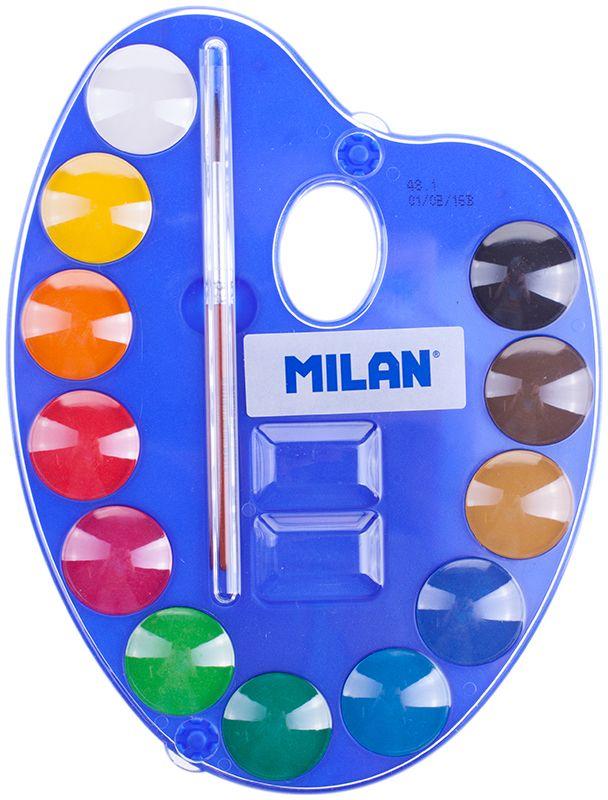Milan Акварель 12 цветов с кистью53412Краски представлены в компактных круглых таблетках. Светоустойчивы, изготовлены из нетоксичных пигментов