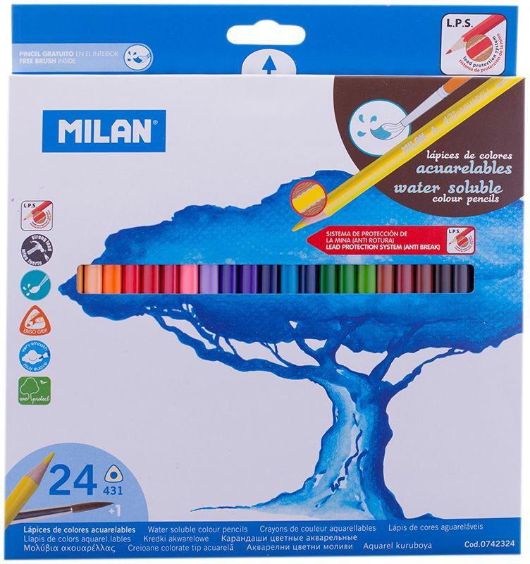 Milan Набор акварельных карандашей 431 24 цвета72523WDНабор цветных акварельных карандашей с кистью. В картонной упаковке 24 карандашей. Яркие цвета, мягкий грифель. Материал - дерево, трехганный корпус. Хорошо точатся. Упаковка с европодвесом.